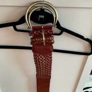 Maroon and Gold Woven Belt
